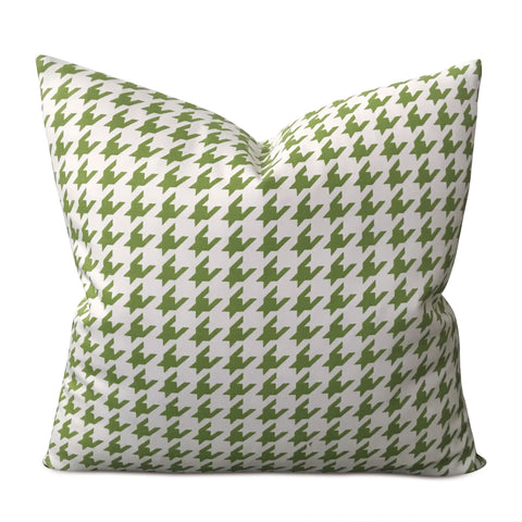 "Green White Houndstooth Decorative Pillow Cover 17"" x 17"""