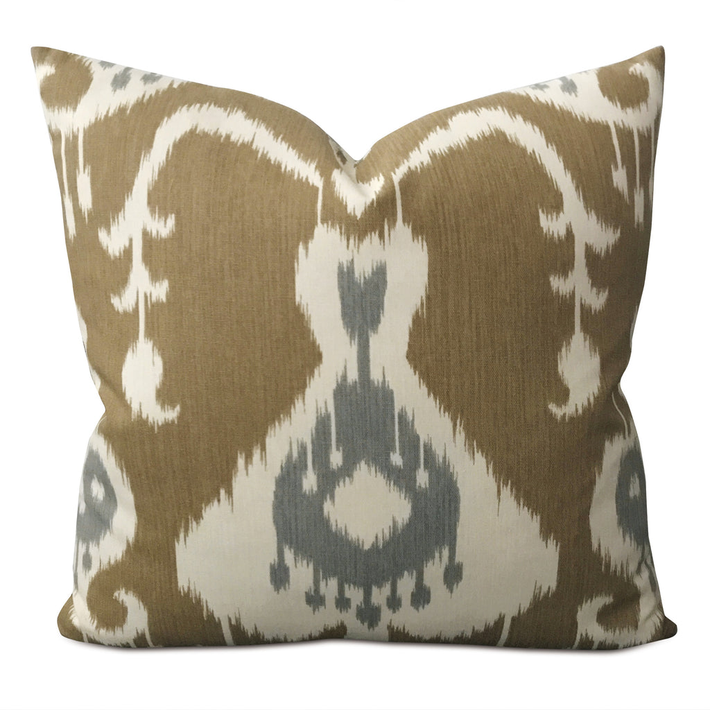 "16"" x 16"" Brown Shibori Eye Ikat Linen Decorative Pillow Cover"