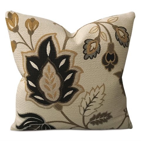 "16"" x 16"" Bronze Floral Embroidered Decorative Pillow Cover"