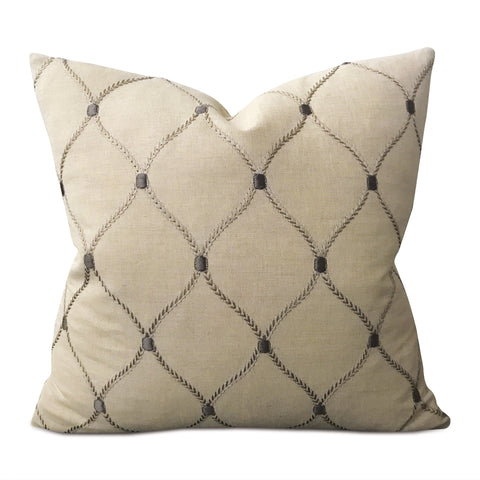 "16"" x 16"" Beige Linen Gray Embroidered Decorative Pillow Cover"