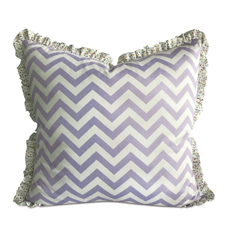"26"" x 26"" Ruffled Lilac Chevron Euro Pillow Cover"