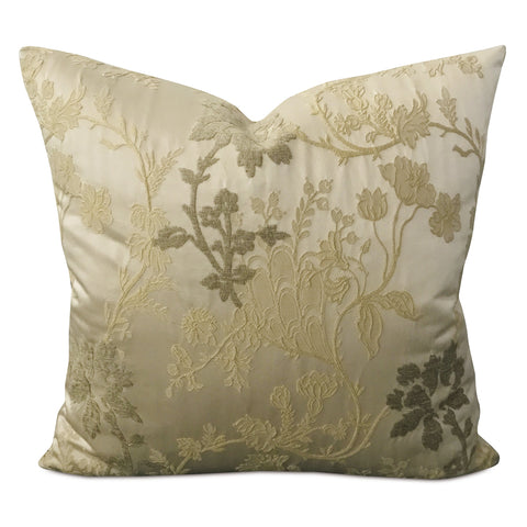 "20"" x 20"" Champagne Silk Botanical Brocade Decorative Pillow Cover"