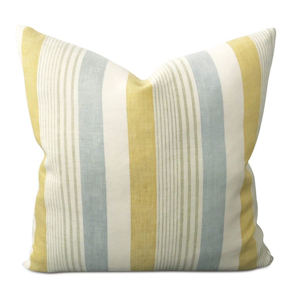"20"" x 20"" Linen Mustard Blue Stripe Decorative Pillow Cover"