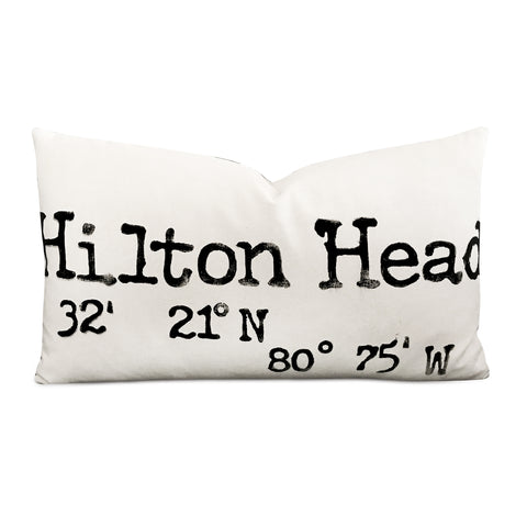 "15"" x 26"" Canvas ""Hilton Head"" Block Print Decorative Pillow Cover"
