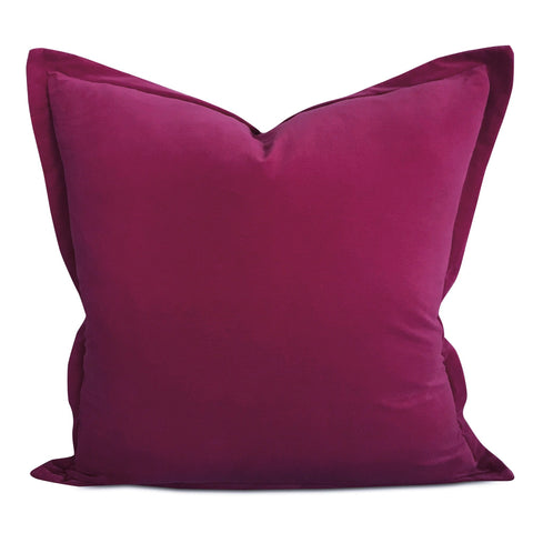 "22"" x 22"" Plum Velvet Self Flange Decorative Pillow"