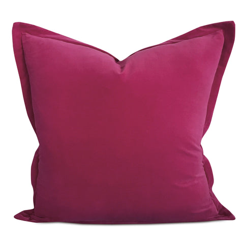 "22"" x 22"" Magenta Velvet Self Flange Decorative Pillow"