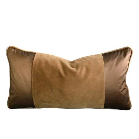 "Welt Trim Camel Velvet Decorative Bolster Cover 12"" x 20"""