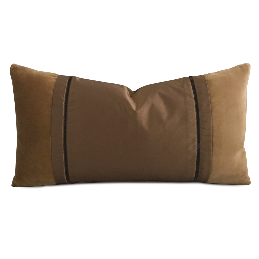 "Camel Velvet Silk Color Block Decorative Pillow Cover 12"" x 20"""