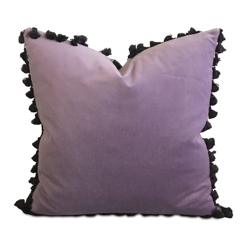 "20"" x 20"" Lilac Velvet Pom Pom Trim Decorative Pillow"