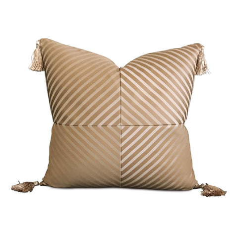 "Metallic Gold Striped Tassel Decorative Pillow Cover 20"" x 20"""