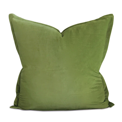 "22"" x 22"" Spring Green Velvet Flange Decorative Pillow"