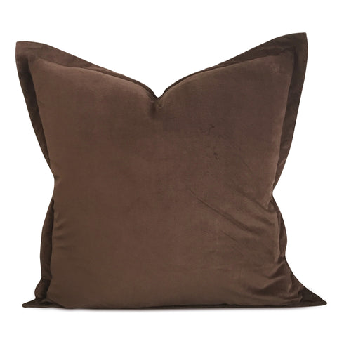 "22""x22"" Brown Velvet Self Flange Decorative Pillow Cover"