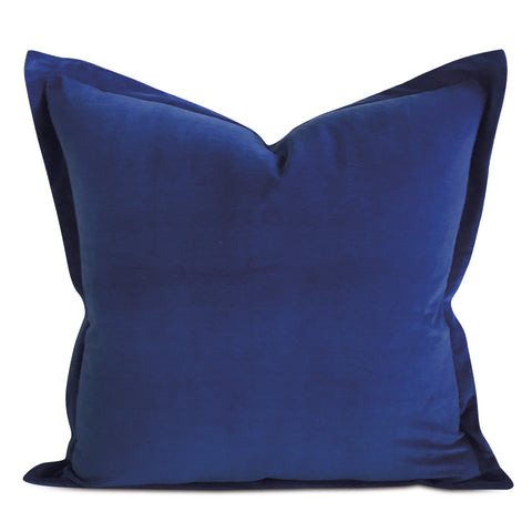 "22"" x 22"" Deep Blue Velvet Self Flange Decorative Pillow"