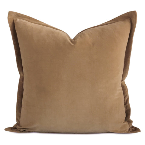"22""x22"" Camel Velvet Self Flange Decorative Pillow"