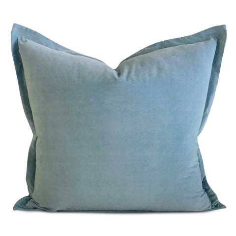 "22"" x 22"" Baby Blue Velvet Self Flange Decorative Pillow"