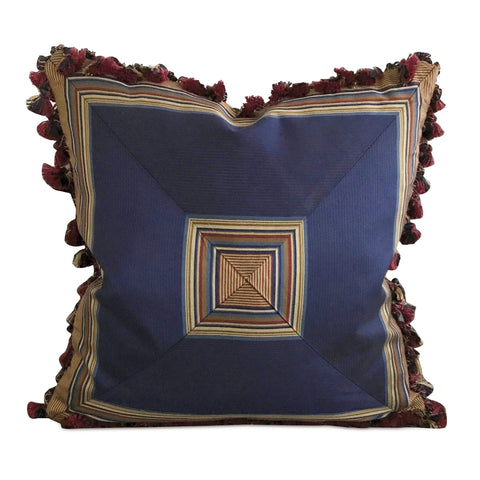 "Silk Royal Blue Striped Tassel Decorative Pillow Cover 16"" x 16"""