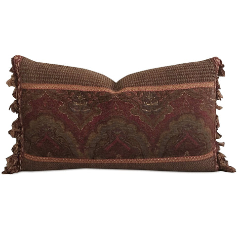 "Burgundy Corduroy Jacquard Tasseled Decorative Pillow Cover 13"" x 22"""
