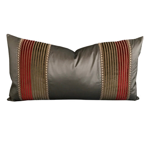 "Taupe Shantung Velvet Striped Decorative Pillow Cover 13""x22"""