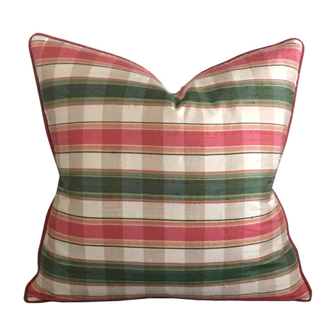 "Pink Green Silk Plaid Decorative Pillow Cover 20"" x 20"""