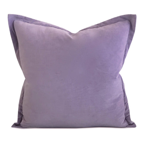 "22"" x 22"" Lilac Velvet Self Flange Decorative Pillow"