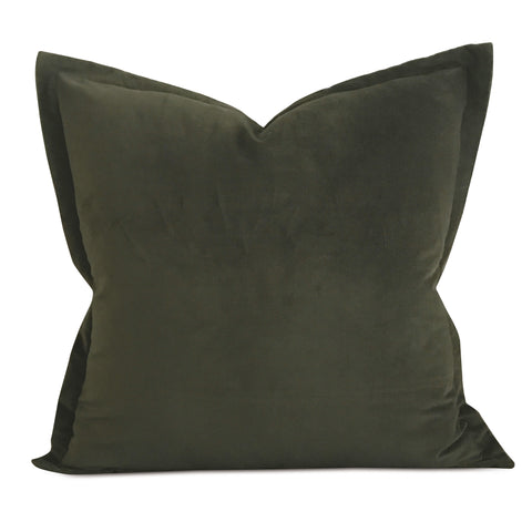 "22"" x 22"" Hunter Green Velvet Self Flange Decorative Pillow"
