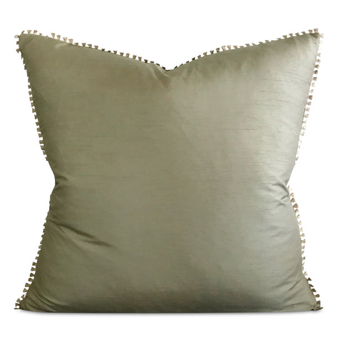 "Seafoam Green Shantung Silk Tassel Trim Decorative Pillow Cover 22"" x 22"""