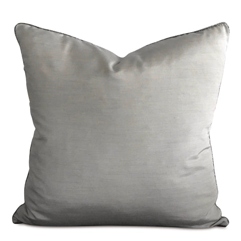 "Silver Shantung Silk Metallic Bead Welt Trim Decorative Pillow Cover 20"" x 20"""