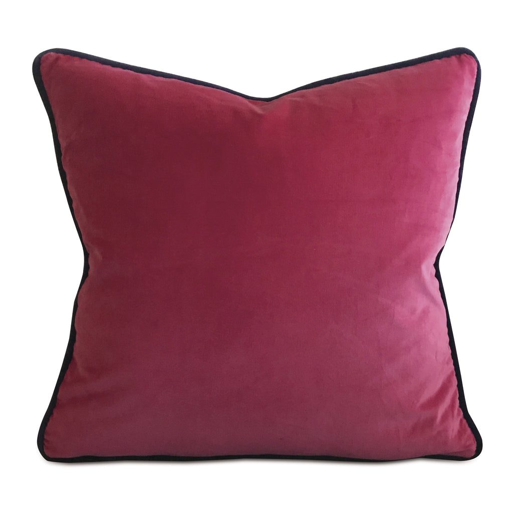 "20"" x 20"" Velvet Magenta Deep Purple Dual Welt Trim Decorative Pillow Cover"