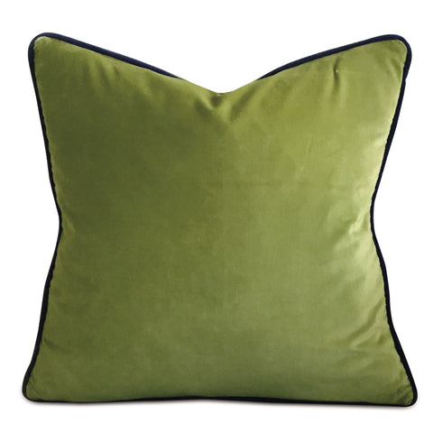 "20"" x 20"" Velvet Spring Green Deep Purple Dual Welt Trim Decorative Pillow Cover"
