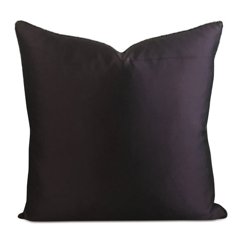 "Purple Silk Ultraviolet Bead Trim Decorative Pillow Cover 20"" x 20"""