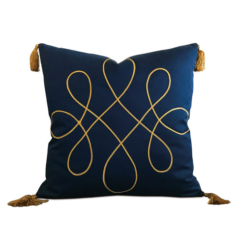 "Royal Blue Silk Gold Tassel Trim Decorative Pillow Cover 20"" x 20"""