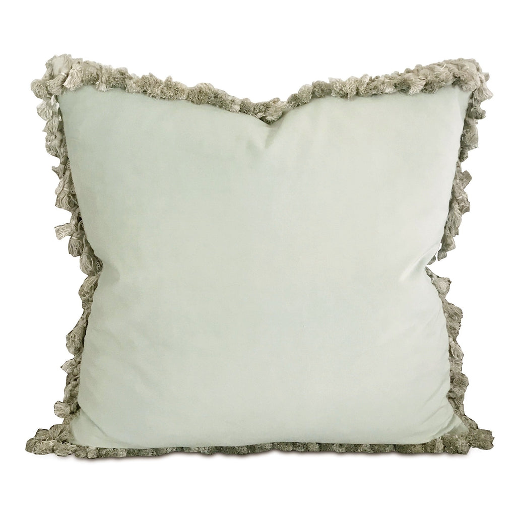 "20"" x 20"" Mint Velvet Silver Tassel Trim Decorative Pillow"