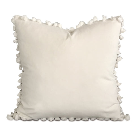 "20"" x 20"" White Velvet Tassel Trim Decorative Pillow"