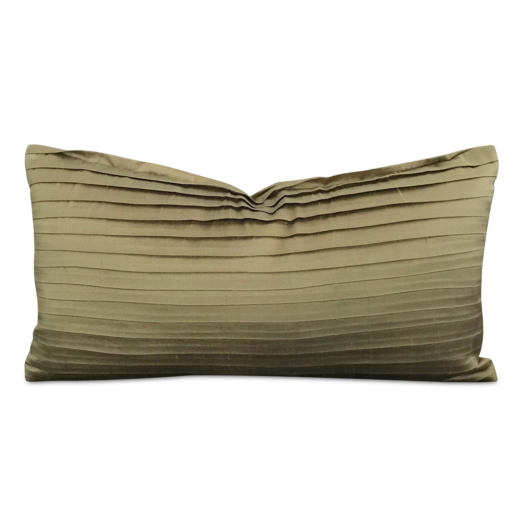 "Sage Green Shantung Silk Pleated Rectangular Decorative Pillow Cover 10"" x 18"""