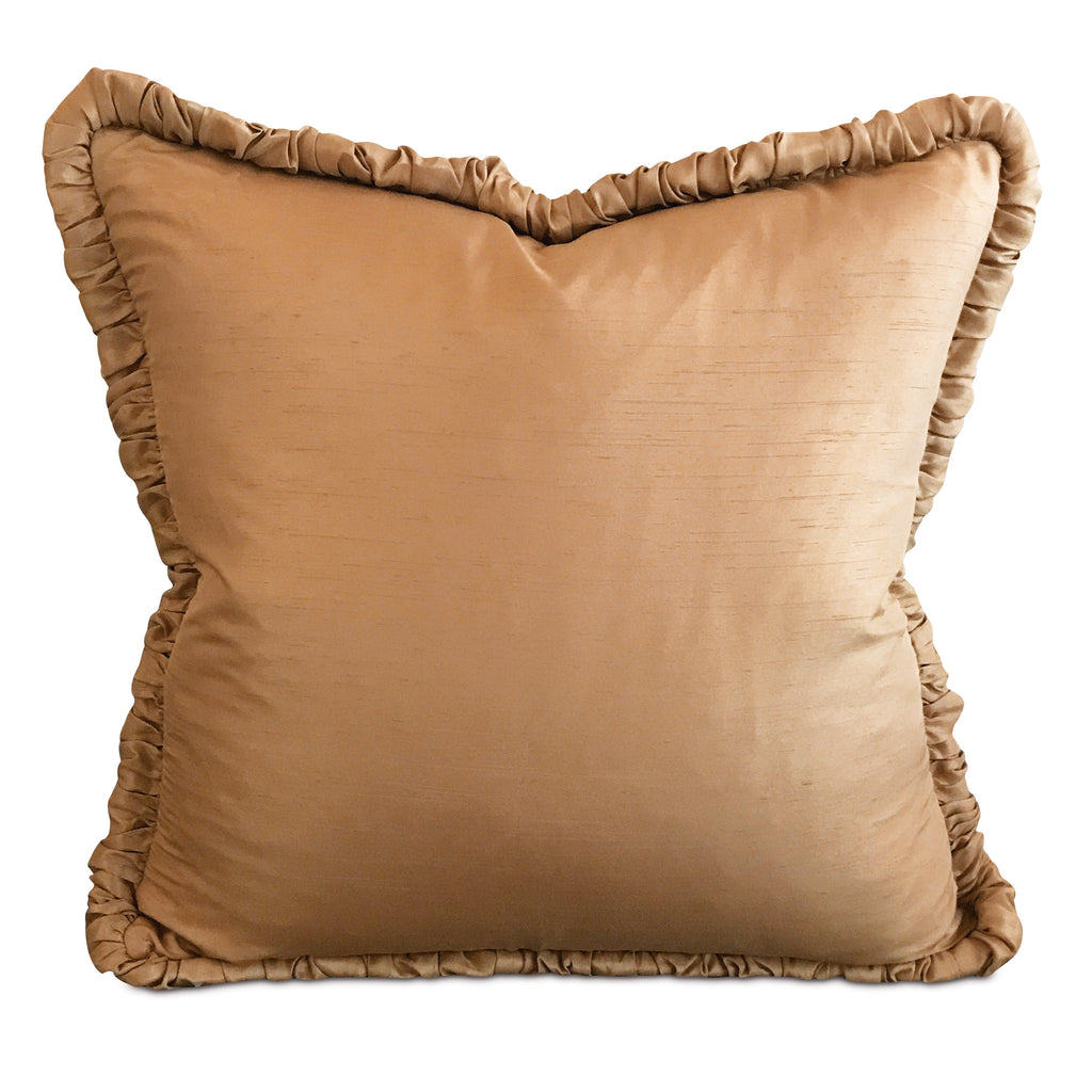 "Gold Shantung Silk Ruffled Trim Decorative Pillow Cover 20"" x 20"""