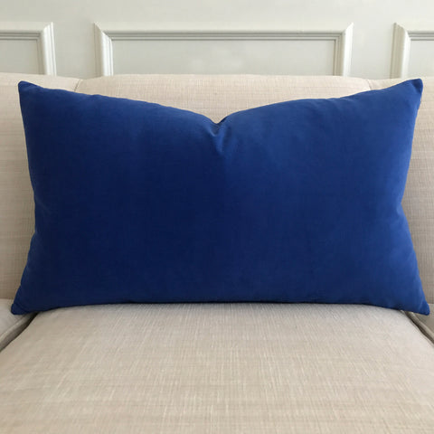 Deep Blue Velvet Decorative Pillow Cover - Available with Insert