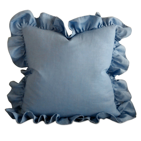 "Baby Blue Linen Ruffle Trim Decorative Pillow Cover 24"" x 24"""