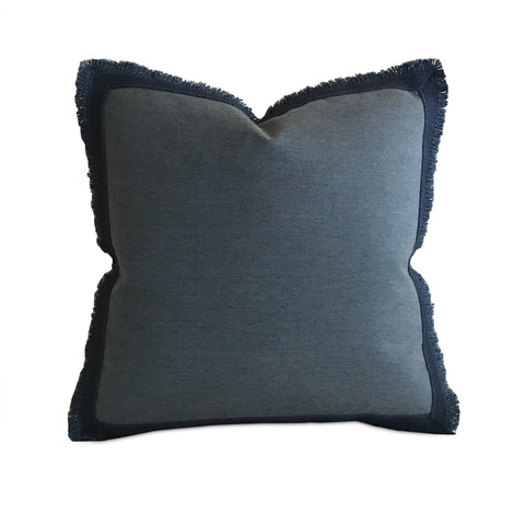 "Blue Denim Trim Decorative Pillow Cover 18"" x 18"""