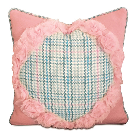 "Pink Rose Lace Trim Plaid Decorative Pillow Cover 16"" x 16"""