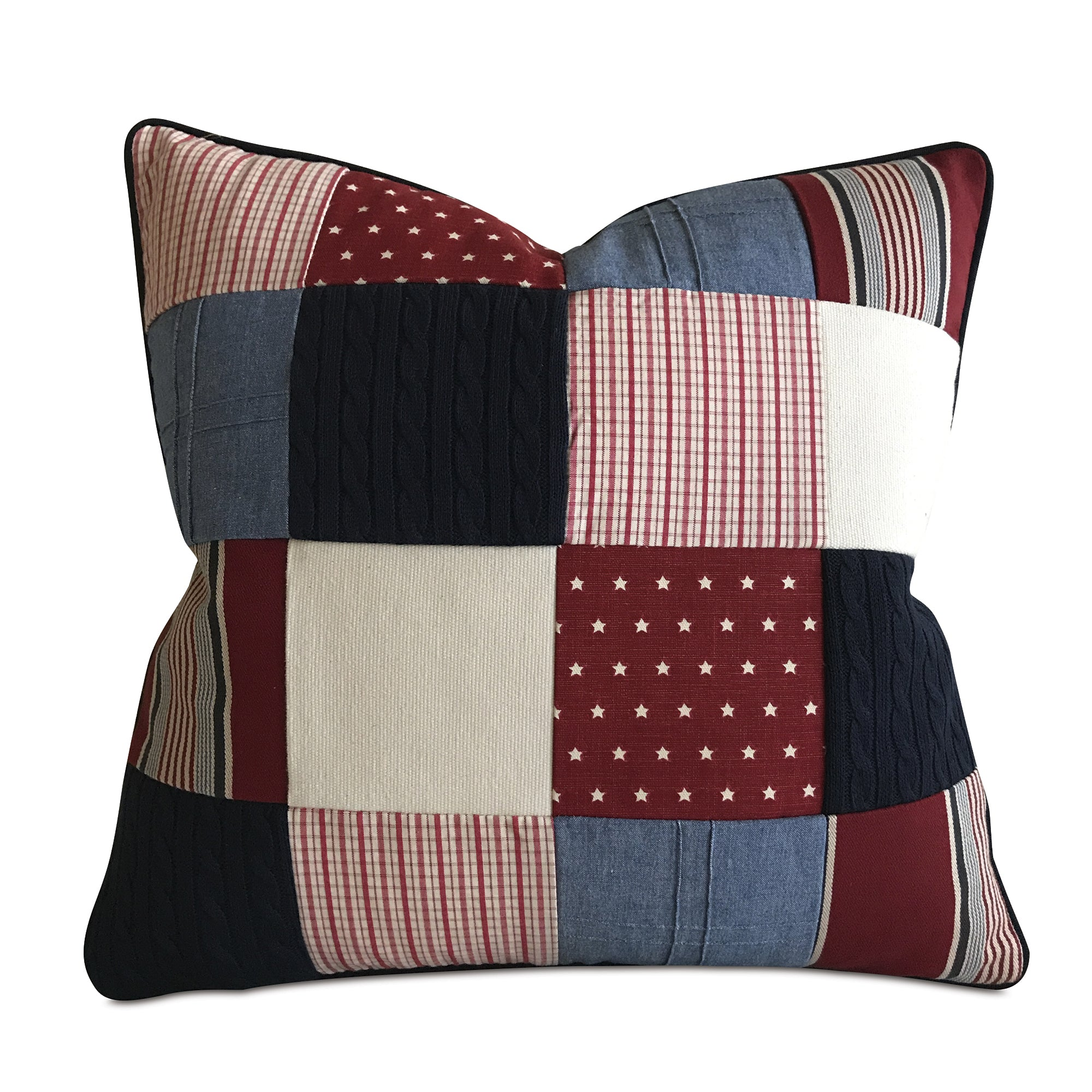 Red White And Blue American Patchwork Decorative Pillow Cover 20 X