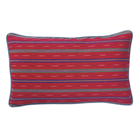 "Red Southwestern Linen Welt Trim Decorative Pillow Cover 13"" x 22"""