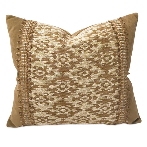 "Earthen Southwestern Navajo Suede Trim Pillow Cover 15"" x 18"""