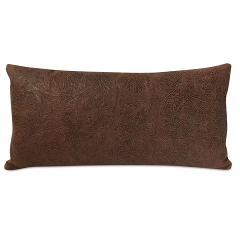 "Embossed Leather Floral Pillow 10"" x 21"""