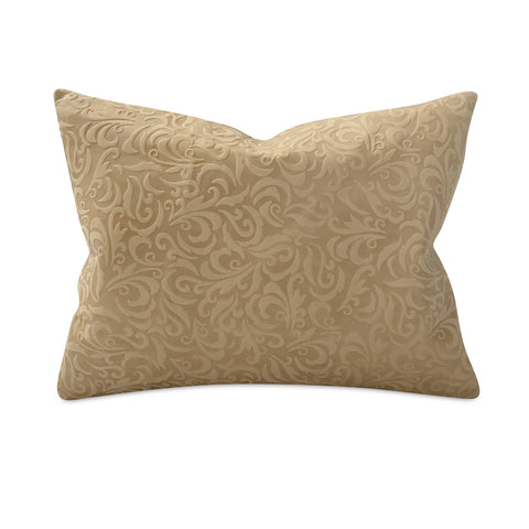 "Embossed Leather Botanical Pillow 16"" x 22"""