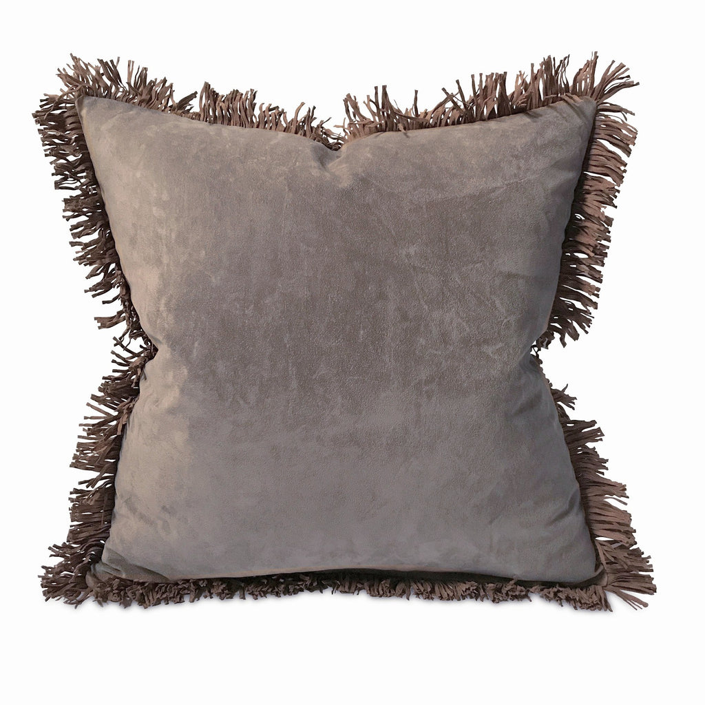 "Southwestern Suede Fringe Trim Pillow Cover 16"" x 16"""