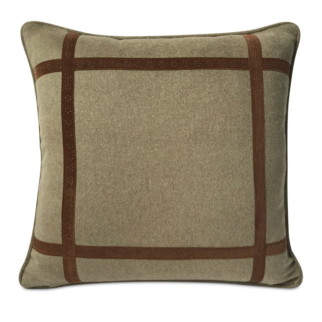 "Southwestern Taupe Felt Welt Trim Pillow Cover 16"" x 16"""
