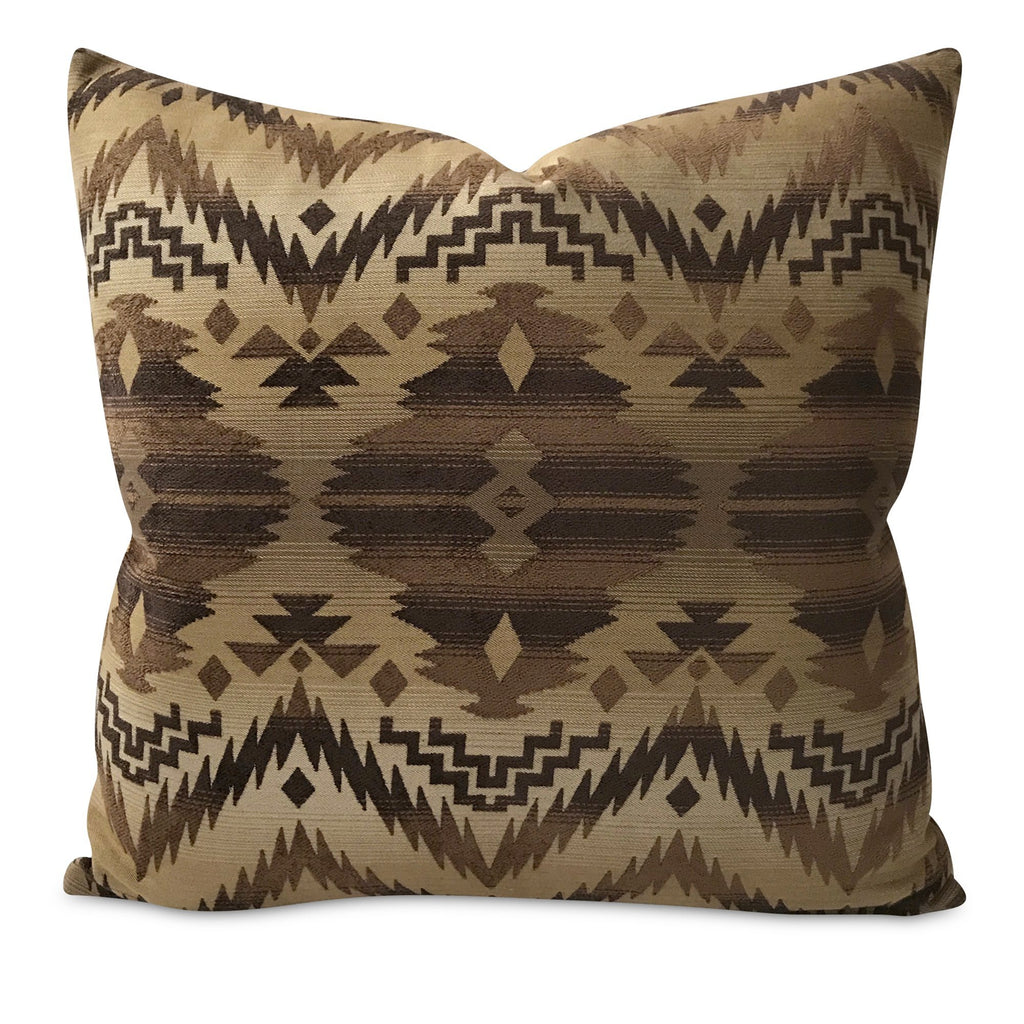 "Southwestern Brown Woven Navajo Pillow Cover 24"" x 24"""