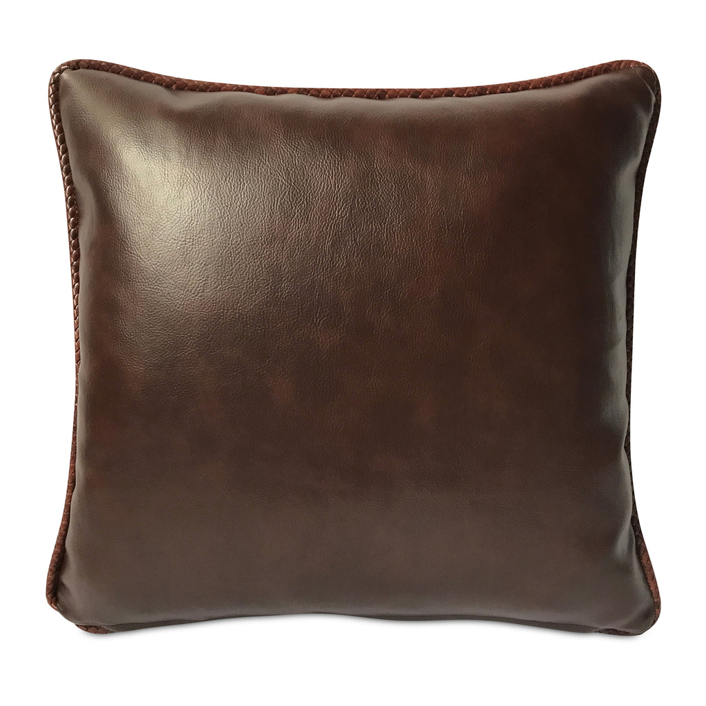 "Southwestern Faux Leather Cord Welt Trim Pillow Cover 16"" x 16"""