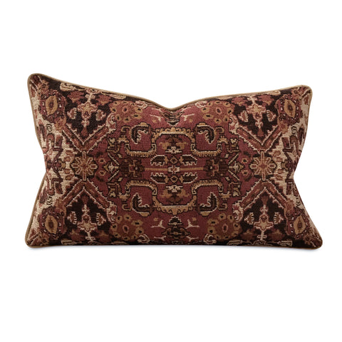 "Southwestern Burgundy Jacquard Welt Trim Pillow Cover 15"" x 26"""