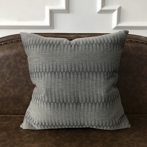 "Slate Gray Modern Geometric Woven Throw Pillow Cover 22""x22"""